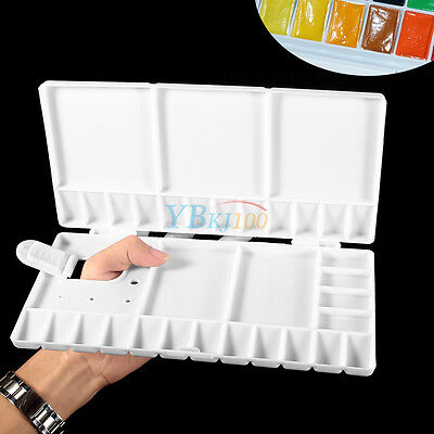 Large Folding Art Craft Drawing Paint Tray Watercolor Mixing Box Palette Plastic