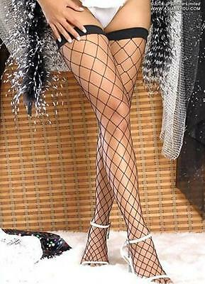 Large Mesh Fishnet Thigh High Stockings Black