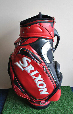 "Srixon Red, Black & White 9.5"" Staff Tour Golf Bag 6-Way 12 Pockets + Headcover"