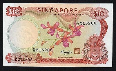 Singapore $10 Orchid 1973 (P-3d) Red Signature Seal - Nice!