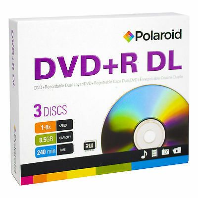 DVD+R8.5gb Double Layer(240min) Polaroid DVD+R8.5DL Discs in a 324 Lot(C7-5141P)