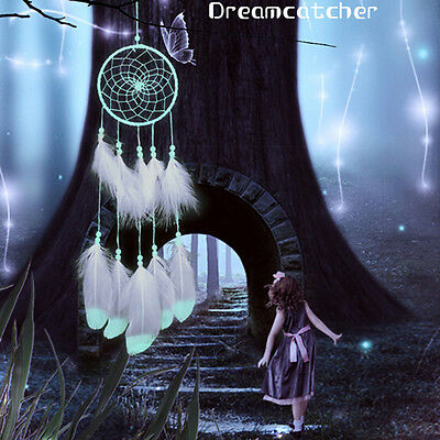 Glow in the Dark Feather Handmade Dream Catcher Wall Hanging Decor+Gift Bag