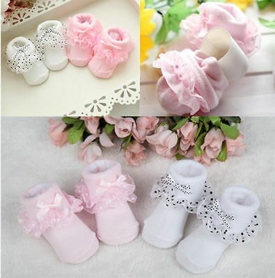 Cozy Princess Ankle Socks Baby Girls Dots Hot Cotton Bowknot Lace Socks Toddler