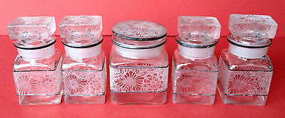 Set of (5) Antique Glass Hand-Etched  Apothecary Jars For the Bathroom or Vanity