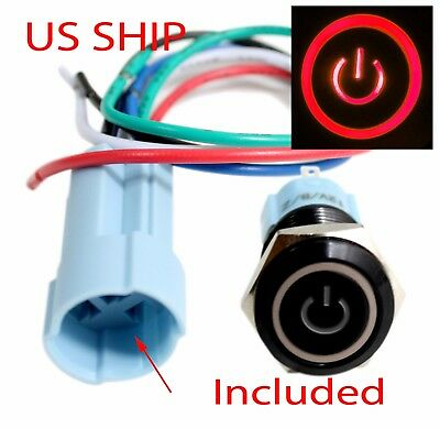 BSF 16mm Red On Off LED 12V Latching Push Button Power Switch Waterproof