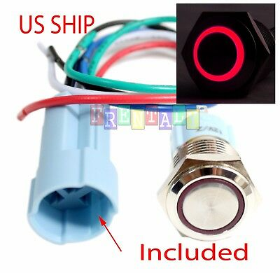 SSF 16mm Red Angel Eye LED 12V Latching Push Button Power Switch Waterproof