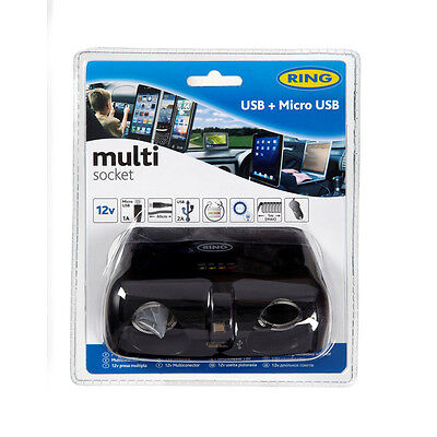 Ring  12v Twin Multisocket with Micro USB Retractable Lead & 2A USB Socket RMS15