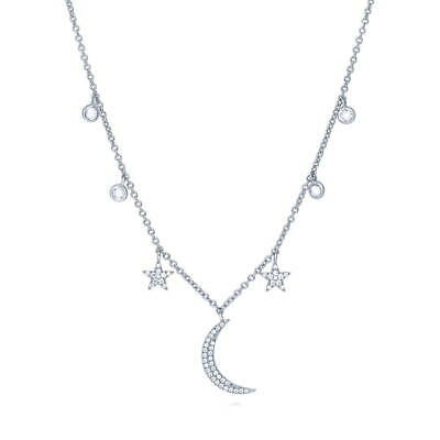 BERRICLE Sterling Silver CZ Star Crescent Moon Fashion Pendant Necklace