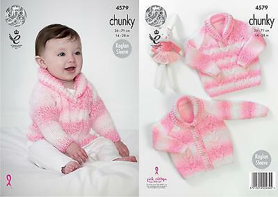 King Cole 4579 Knitting Pattern Cardigan & Sweater in Big Value Baby Soft Chunky
