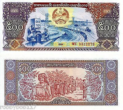 LAOS 500 Kip Banknote World Paper Money UNC Currency Pick p-31 Note Bill 1988