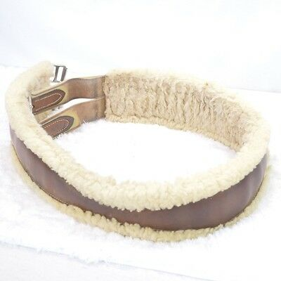 Used Beval Fleece and leather Girth -  Brown - sz 52 #70822