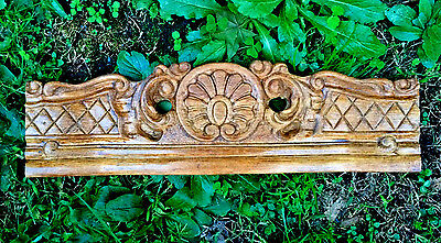 Gorgeous Vintage/antique Shell Carved Birds Eye Maple  Pediment Ornate 17""