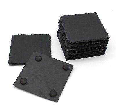 10x10cm Square Natural Slate Coaster Set Coffee Table Drinks Place Mat Bulk Sale