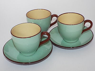 2 Devon Ware or Similar Two Tone Cups & Saucers + Spare Cup