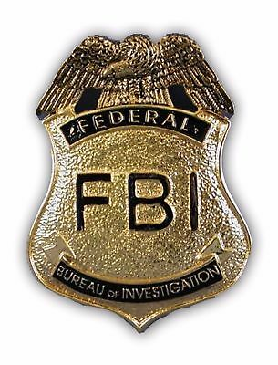 FBI Agent Police Cop Agent Badge Costume Accessory Pin Gold Officer