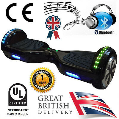 "Black LED 6.5"" Hoverboard Swegway + Bluetooth Speaker & UL CE Approved Charger"