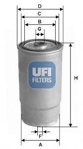 AUDI 80 Fuel Filter 1.6,1.9D 24.379.01 UFI 028127435 028127435A 028127435C New