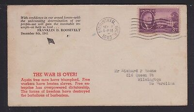 "Usa 1945 Wwii ""war Is Over"" Fdr Quotation Patriotic Cover Birmingham Michigan"