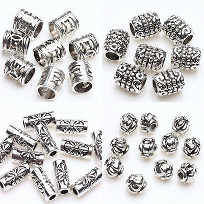 100pcs Tibetan Silver Carving Tube Flower Loose Spacer Charm Beads Jewelry DIY