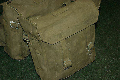 Post Ww2 Pair Of Army Motorcycle Panniers Military Heavy Duty Canvas Bike
