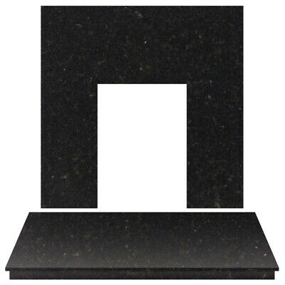 Fireplace Back Panel and Hearth Set in Black Granite, 48 Inch
