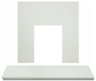Fireplace Back Panel and Hearth Set in Sparkly White Marble, 54 Inch
