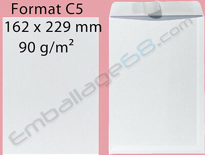 100 ENVELOPPES BLANCHES C5 162x229mm AUTO-ADHESIVE GRAMMAGE 90g/m2