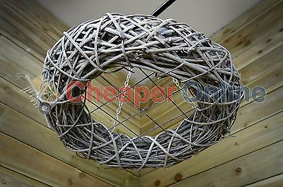 80cm Natural Willow Hanging Ring Christmas Festive Mesh Wicker Wreath Decoration