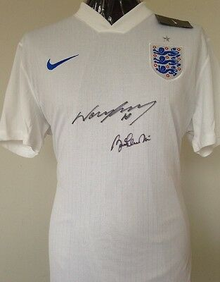 England Shirt Signed By Wayne Rooney & Bobby Charlton With Letter Of Guarantee