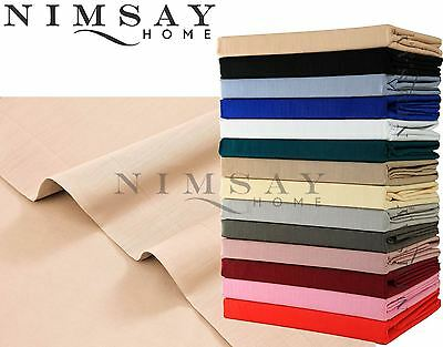 Plain Dyed Easy Care Poly Cotton Fitted Flat Base Valance Bed Sheets Pillowcases