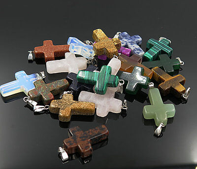 Fashion Natural Cross Gemstone stone Silver P Beads Pendant 30pcs/lot Wholesale