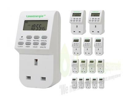 Digital LCD 7 Day Electronic Plug-in Timer Switch Fully Programmable 12/24 Hour