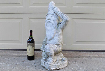 "Awesome!! over 22"" tall antique concrete Garden Gnome Frog & Turtle cement"