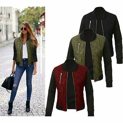 Fashion Ladies Women Long Sleeve Zipper Coat Jacket Short Coat Casual Outerwear