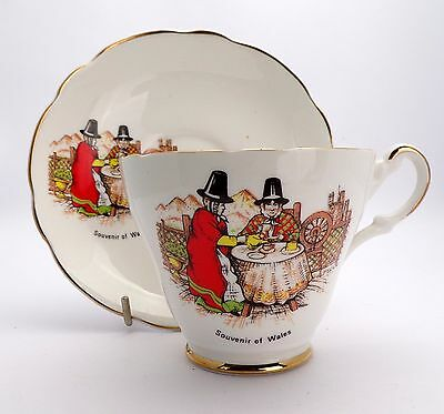 WELSH LADIES Tea Party Bone China Tea Cup and Saucer Souvenir of Wales