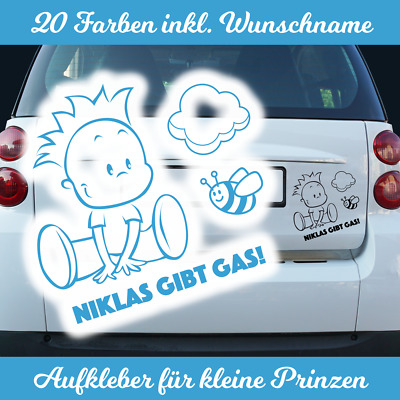 Kinder Aufkleber Wunschname Junge Autoaufkleber Baby on Board an Bord Tour Jungs