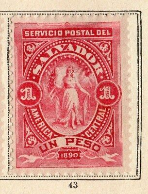 El Salvador 1890 Early Issue Fine Mint Hinged 1P. 094233