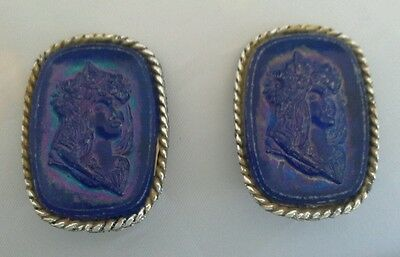 "Vintage Blue Floral Crown Bohemian Cameo Clip-On Earrings 1 3/8"" Silver Tone"