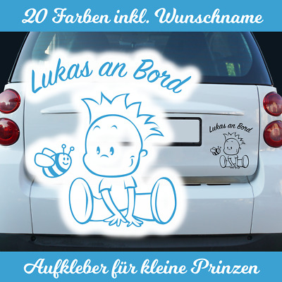 Babyaufkleber Name Baby an Bord on Board Tour Jungen Jungs Autoaufkleber Oma Opa