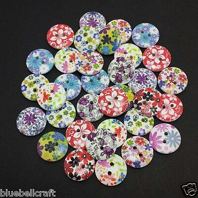 60 18mm WOODEN FLOWER MIXED BUTTONS - CRAFT - SCRAPBOOK - SEWING - CARDMAKING