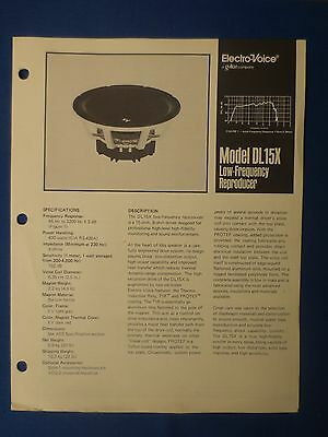 Electro Voice Dl15X Woofer Sales Brochure Original The Real Thing