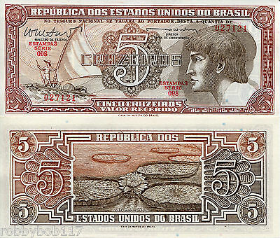 BRAZIL 5 Cruzeiros Banknote World Paper Money XF Grade Currency Pick p-166b Bill
