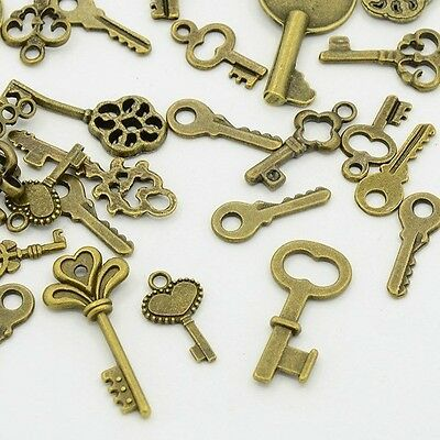 100 Mixed Lot Antique Brass KEY CHARMS Assorted Sizes 15-30mm w/ loop SteamPunk
