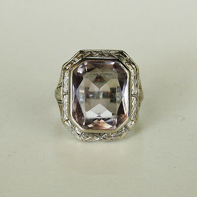 Antique 14k White Gold Art Deco / Nouveau Rose De France Amethyst Cocktail Ring
