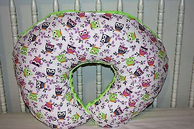 New Boppy Pillow Cover M/w Pink & Lime Owls & Lime Green Minky Dot Fleece Fabric