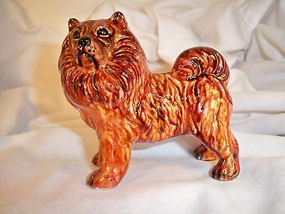 Dog Figurine CHOW CHOW Red Standing Porcelain UK 1980's BEAUTIFUL VERY RARE