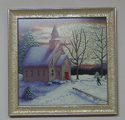 COUNTRY CHAPEL - Finished framed completed Cross Stitch