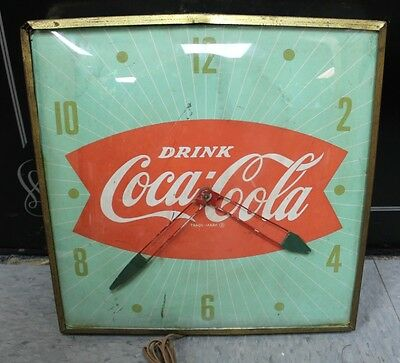 "1940 Vintage Drink Coca Cola Fish Tail 15"" PAM Advertising Wall Clock"