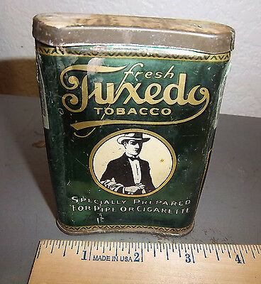VINTAGE Fresh Tuxedo tobacco tin, great graphics & colors, nice collectible