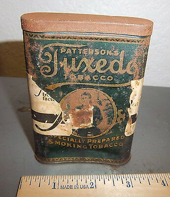 VINTAGE Pattersons Tuxedo tobacco tin, with part of paper label still around it